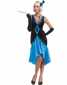 20's-30's Blk/Blue Velour & Satin Ruched Costume Dress & Feathered Hair Piece