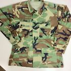 Vtg Military WOODLAND CAMOUFLAGE Hot Weather Army COMBAT Shirt FATIGUE Jacket L