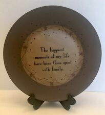 """Primitive Decor 9 1/2"""" Painted Wooden Plate Signed Barbara Lloyd With Stand"""