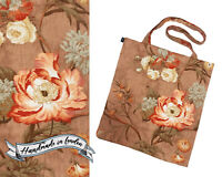 Floral shoulder tote bag Sanderson vintage fabric laptop shopping tote UK