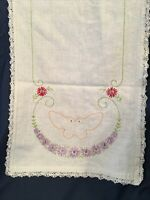 "Vintage Hand-Embroidered Crocheted Table Runner Dresser Scarf 14 x 39"" Flowers"