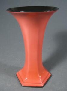 Vintage art deco ceramic Crown Ducal trumpet shape vase coral pink/black England