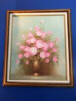 Peony Floral Bouquet in Vase Still Life Oil Painting on Canvas w Wood Frame
