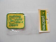 Vintage 1972 John Deere Patch, Nothing Runs Like A Deere, NOS In Package