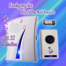 100M Funk Klingel Türklingel Türgong Funkgong Türglocke 32 Melodien Steckdose