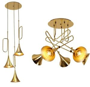 Hanging Pendants Chandeliers Modern Flush Funky Trombone Round Polished Gold