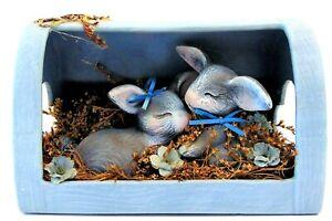 Yard Garden Decor 2 Sleeping Baby Bunny Rabbits at Heart Case Ceramic