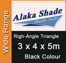 Extra Heavy Duty Shade Sail - Black Right Angle Triangle 3m x 4m x 5m, 3x4x5m