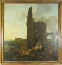 F3-023. SCÈNE RURALE. HUILE SUR TOILE. ÉCOLE HOLLANDAISE. CENTURY XVII-XVIII.