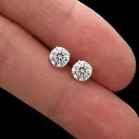 1.50CT Created Diamond Earrings Solitaire 14k White Gold Basket Studs Screw-Back
