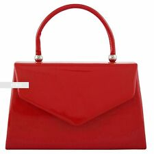 New Stylish Red Patent Wedding Ladies Party Prom Evening Clutch Hand Bag Purse
