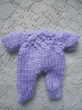 """Doll Clothes Hand-knit Lavender Footed jumpsuit Fits Baby 4.5"""" to 5"""" H. Handfuls"""