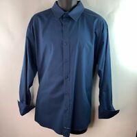 English Laundry Mens Button Front Shirt Blue Geometric Flip Cuff Sleeve XXL