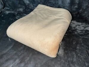 Two Sided Reversible Throw Blanket sand tan light brown vintage MTV 4ft x 5ft