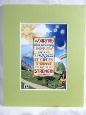 """New listing Mary Engelbreit Matted Calendar Print 8 X 10"""" Worry Does Not Empty Tomorrow #118"""