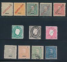 1888 - 1911 Macau (12) EARLY ISSUES; MH, USED & UNUSED; CV $85