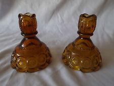 Vintage Depression Era Set 2 Amber Glass Elegant Patterned Candlestick Holders