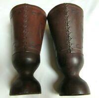 """Leather and Wood Goblets Made in Rye, England Cups 7"""" Set of 2 Man Cave Gothic"""
