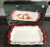 Pfaltzgraff Winterberry Serve Platter w/ Red Bow Handles Original Box 109-470-00