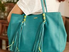 Sac One Step cuir nubuck turquoise liens jaune fluo et pompons Neuf