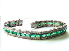 15.58 cts Diamant et émeraude Bracelet en 14 carat Or Blanc