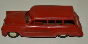 """FAIR Vintage Aged RESCUE SQUAD Fire Ambulance Friction Siren Plastic Toy Rare 7"""""""