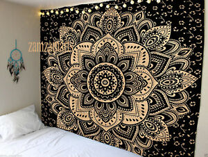 Queen Size Indian Ombre Mandala Black Gold Wall Hanging Tapestry Bedspread Throw