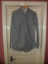 "Mens Lacoste Grey + White Cotton Striped Shirt Size 40"" Chest Regular Fit"