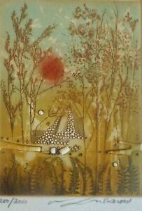 """RENEE LUBAROW """"Tranquil Forest"""" HAND SIGNED Etching French Artist"""