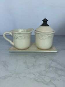 Chris Madden Ivory Creamer and Sugar with Lid and Tray set
