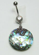Belly Ring Genuine Abalone in 925 Sterling Silver