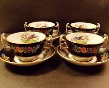 FOUR ANTIQUE SPODE CHELSEA BIRD HANDLED CREAM SOUP BOWLS BLACK MULTICOLORS NICE