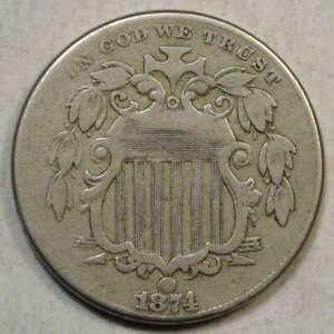 1874 Shield Nickel, Fine, Better Date & Problem Free    0206-04
