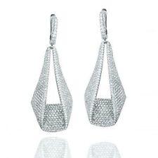 ZirconZ-Pave Box Signty CZ Rose Or White Sterling Silver InOutSide Hoop Earrings