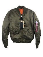 Alpha Industries MA-1 Slim Fit Bomber Jacket NWT Vintage Olive (Gold) Large
