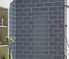 TILE SAMPLES London Bevelled Blue Mist Gloss Metro Bathroom Tiles 10 x 20cm