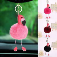 Flamingo Keychain Keyring Handbag Fur Bag Charm Pendant Girl Gift Decorative New