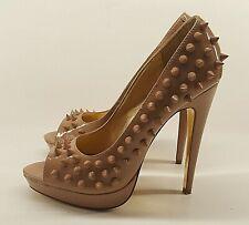 SCHUH Ladies UK 5 Nude Beige Spike High Heel Shoe Open Toe Platform Brutalist