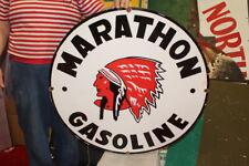 Large Marathon Red Indian Gasoline Gas Station 30
