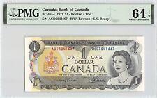Canada 1973 BC-46a-i PMG Choice UNC 64 EPQ 1 Dollar (Lawson-Bouey)