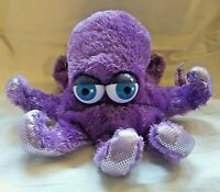 Aurora Purple Octopus Plush Stuffed Animal Hand Puppet Blue Eyes Sparkle Bottom