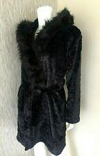 BIBA BLACK PLUSH VELOUR HOODED ROBE / DRESSING GOWN SIZE S (UK 10-12) BNWT