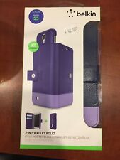 New Belkin 2-IN-1 Wallet Folio Case For Samsung Galaxy S5 Purple