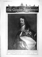 Original Old Antique Print 1906 Portrait King Charles I William Dobson 20th