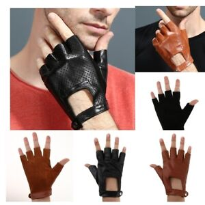 Echtes Leder Herren Damen Halbfinger Fingerlose Handschuhe Motorrad Camping
