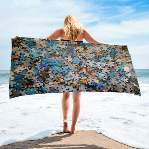 Jigsaw Puzzle Theme Beach or Bath Towel