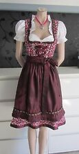 NEW German Austrian 3pc. Floral Dirndl Dress Blouse Apron Plum  10