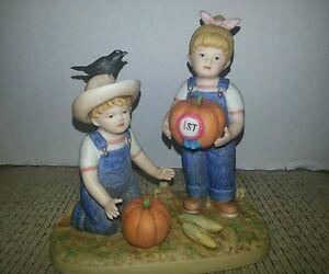 "Homco Denim Days Figurine. ""Prize Pumpkin"".  #1531."