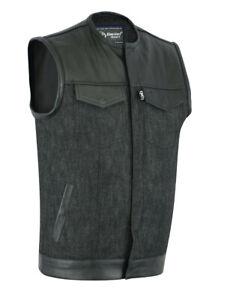 Men's Leather Denim Combo Rider Motorcycle Vest No Collar Daniel Smart DM901
