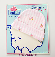 Gorrito de bebé de BELTIN (zebras rosas) - Recién nacido (canastilla)